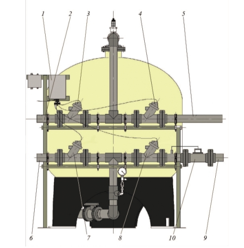 Рис. 3. Схема фильтра производительностью 40 м3/ч: 1 – контроллерный блок управления; 2 – коллектор подачи оборотной воды на очистку; 3 – диафрагменный клапан подачи оборотной воды на очистку; 4 – диафрагменный клапан сброса промывной воды в дренаж; 5 – дренажный коллектор; 6 – коллектор промывной воды; 7 – диафрагменный клапан подачи промывной воды; 8 – диафрагменный клапан подачи очищенной воды; 9 – коллектор очищенной оборотной воды; 10 – регулятор потока воды
