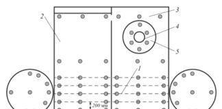 Схема измерения толщин элементов сосуда, зарытого в грунт: 1 – нижняя образующая; 2, 3 – царги обечайки; 4 – горловина люка или патрубок; 5 – накладное укрепляющее кольцо