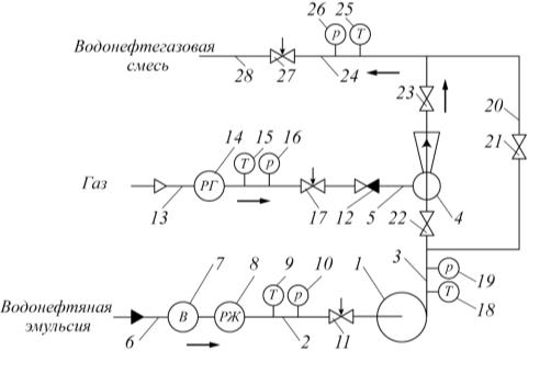 Рис. 1. Схема насосно-эжекторной системы для ДНС «А