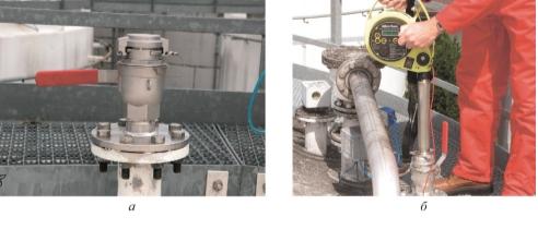 Рис. 2. Адаптер с шаровым краном (а), измерения с его помощью (б) без разгерметизации резервуара