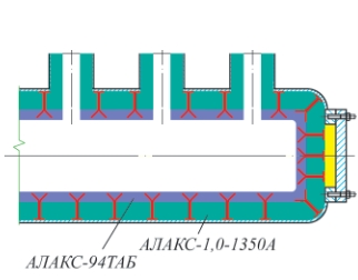 Рис. 6. Коллектор с двухслойной футеровкой без внутренней обечайки