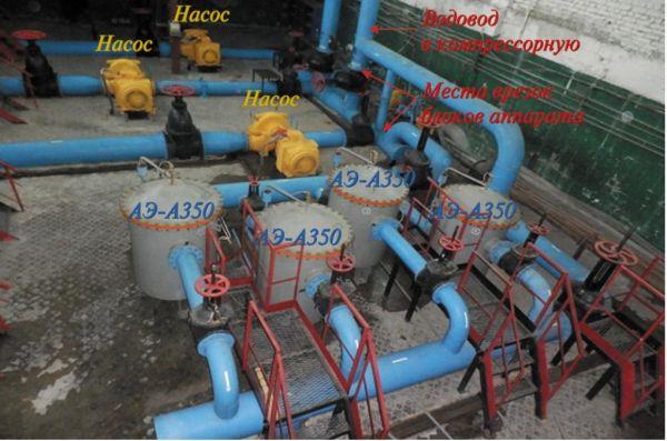Рис. 5. Аппараты АЭ-А-350 в системе водоснабжения компрессорной