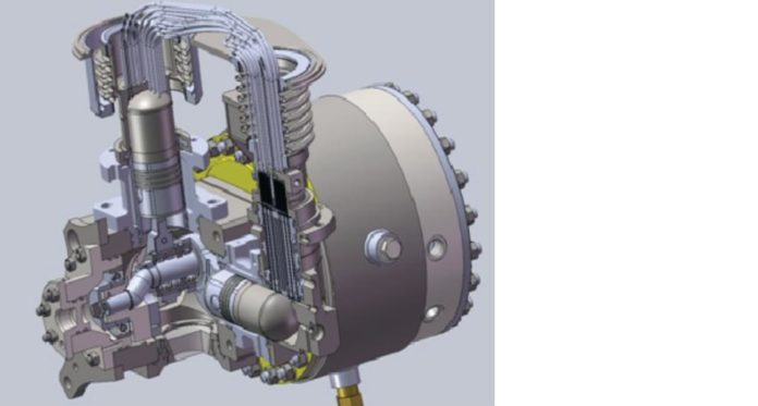 Рис. 6. Эскиз отечественного двигателя Стирлинга мощностью 5 кВт с электрогенератором на постоянных магнитах