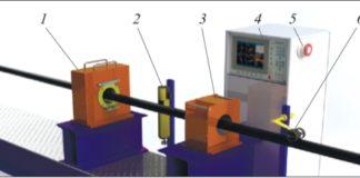 Рис. 4. Схема размещения участка неразрушающего контроля на базе дефектоскопа ВД-41П в составе трубного стана: 1 – блок преобразователей; 2 – краскоотметчик; 3 – демагнетизатор; 4 – стойка с электронным блоком; 5 – сирена; 6 – датчик пути