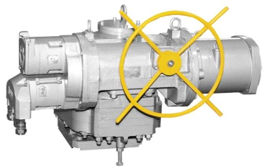 Рис. 3. Многооборотный электропривод импортозамещающей серии ЭП4 (конструктивная схема 430, диапазон настройки крутящего момента 8000…24000 Н•м)