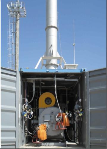 Рис. 1. Установка для уничтожения жидких отходов (шлам, сточные воды, буровые растворы) производительностью 300 м3/ч по ПНГ, 100 кг/ч по отходам (а) и циклонная топка