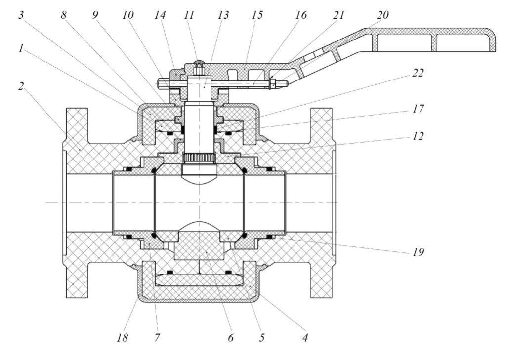 Рис. 2. Конструкция шарового крана из ПКМ DN50 PN25: 1 – обечайка; 2 – патрубок корпуса; 3, 4 – хомуты; 5– шаровая пробка; 6 – опора нижняя; 7– седло; 8 – подшипник; 9 – втулка сальника; 10 – ограничитель поворота рукоятки; 11 – заглушка; 12 – диск; 13 – шпиндель; 14 – вставка-ключ; 15 – рукоятка; 16 – винт; 17 – уплотнение корпуса; 18 – оболочка; 19 – уплотнение седел; 20 – гайка; 21 – шайба; 22 – сальниковое уплотнение шпинделя