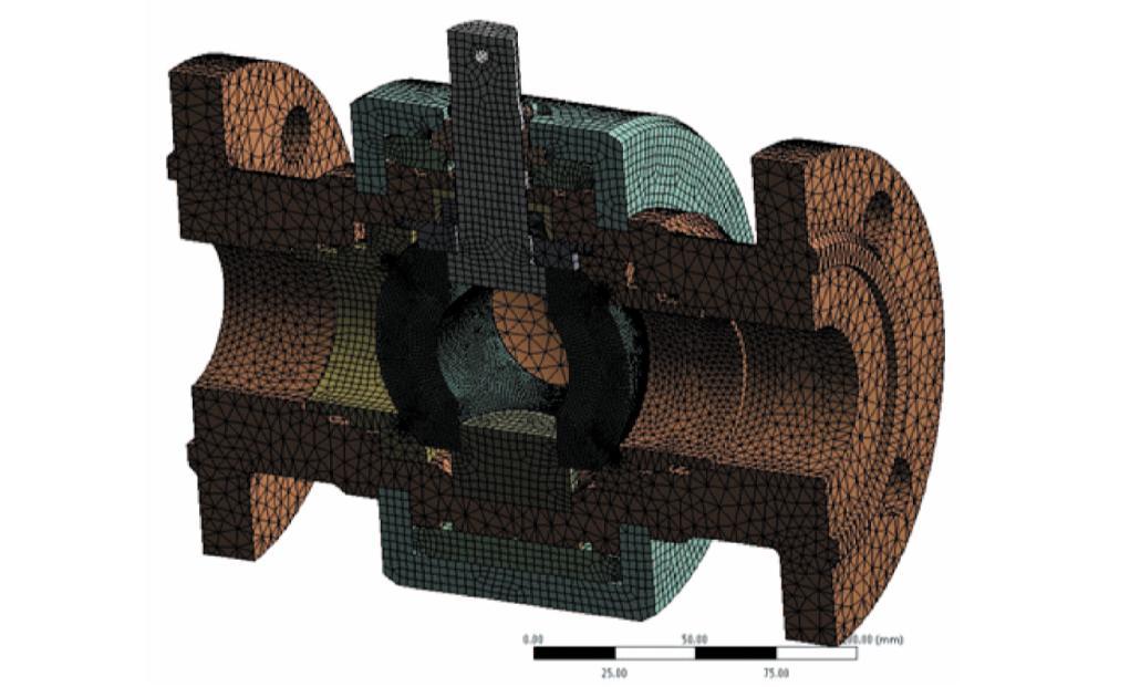 Рис. 5. Конечно-элементная расчетная модель крана