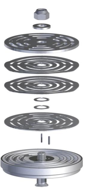 Рис. 3. Компоненты клапана RN, в том числе демпферные пластины и плоские пружины