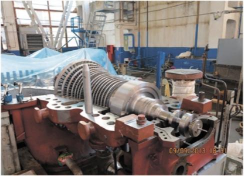Рис. 4. Ротор турбины во время установки в корпус