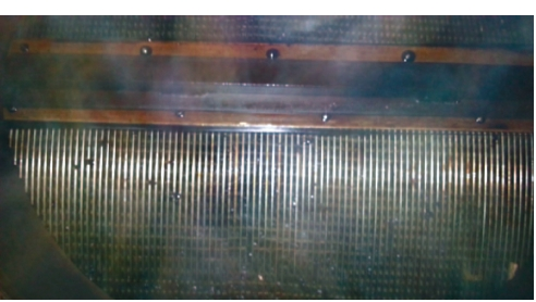 Рис. 3. Пластины аппарата после обработки, фото выполнено через соединительный фланец