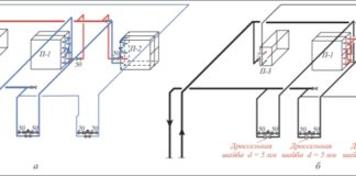 Рис. 2. Схема реконструкции обвязки калориферов системы приточной вентиляции: а – до реконструкции; б – после реконструкции