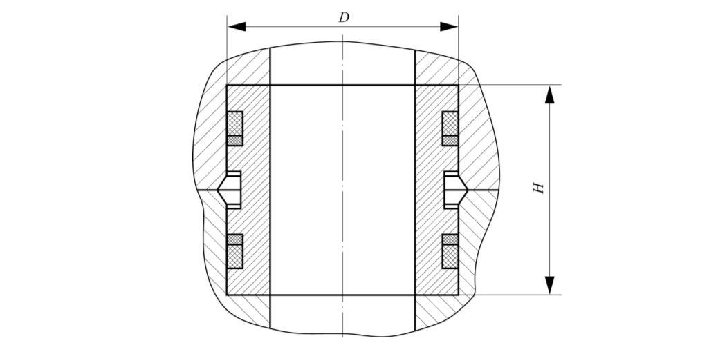 Рис. 2. Муфтовое уплотнение со стандартными резиновыми кольцами