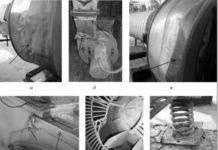 а, в – механические повреждения корпуса; б – следы коррозионного воздействия среды; г – трещины корпуса; д – разрушение лопасти крыльчатки электродвигателя вентилятора; е – отсутствия крепления к фундаменту