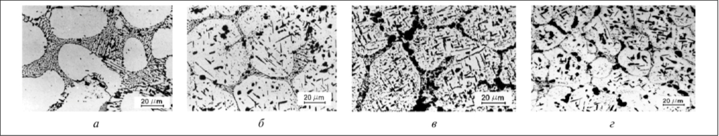 Рис. 4. Микроструктура металла трубы из сплава IN-519: а – состояние поставки, мелкодисперсные пластинчатые карбиды в междендритных прослойках; б – после 20 000 ч эксплуатации; выделение вторичных карбидов и игольчатых интерметаллидных фаз; в – после 72 000 ч эксплуатации; укрупнение и коагуляция первичных и вторичных карбидов, массированное выпадение интерметаллидных фаз; г –  после 95 000 ч эксплуатации; практически полная коагуляция пластинчатых форм карбидов, крупные грубые пластины хрупких интерметаллидов, утрачивающих упрочняющее влияние