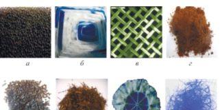 Рис. 4. Насадки для биофильтров: а – общий вид насадки из высокопористого ячеистого материала (ВПЯМ); б – общий вид комбинированной насадки; в – сетчатая насадка из полиэстера; г – торф; д – уголь активированный; е – смесь веток и листьев; ж – пластиковая миникольцевая насадка; з – полиамидное волокно