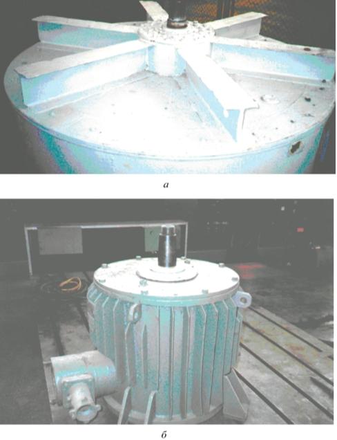 Рис. 4. Электродвигатель ВАСВ 16-20-40 с МЖГ (а); электродвигатель ВАСО 2-37-14 с МЖГ (б)