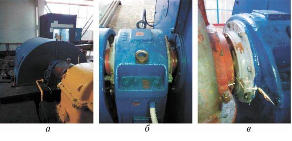 Рис. 6. Электродвигатель СТД 3150 с установленными МЖГК: а – электродвигатель СТД 3150; б – подшипниковая стойка с установленными МЖГК; в – МЖГК