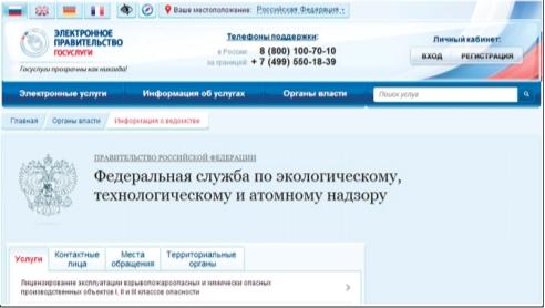 Рис. 2. Окно портала регистрации государственных услуг Российской Федерации ФСЭТАН