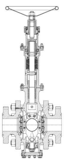 Рис. 4. Положение «закрыто»  шарового сегментного крана типа КС с боковыми фланцами с клиновым разжимом