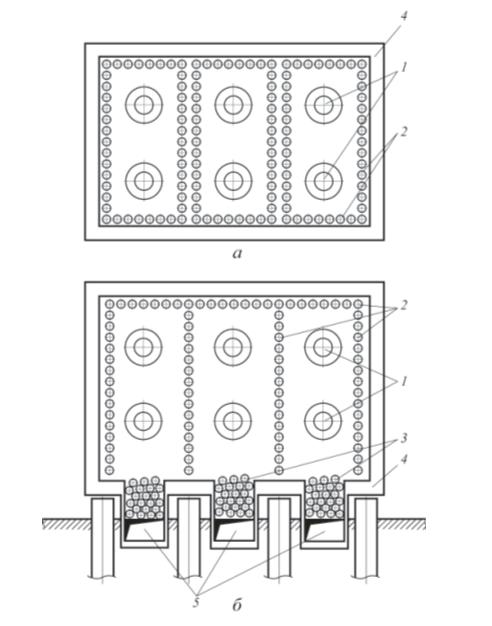 Рис. 3. Принципиальные схемы многокамерных секционных печей: а – трехкамерная печь типа ВС3 с нижними факельными горелками и вертикальными трубами радиантной камеры в плане; б – трехкамерная печь типа СС3 с боковыми горелками и с горизонтальными змеевиками радиантных и конвективных камер; 1 – горелки; 2 – радиантный змеевик; 3 – конвективный змеевик; 4 – обмуровка; 5 – боров (дымоход)