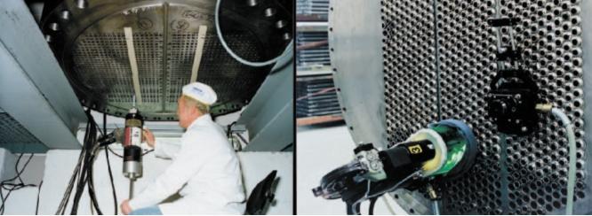 Рис. 6. Сварка со стороны внутренней поверхности трубы титанового конденсатора (а); сварка титановых труб с трубной доской с титановым покрытием (б)