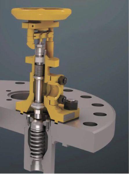 Рис. 10. Запорный клапан с сильфонным и подпружиненным обратным клапаном для американской хлорной цистерны
