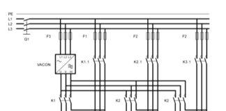 Рис. 2. Силовая схема подключения трехнасосной станции