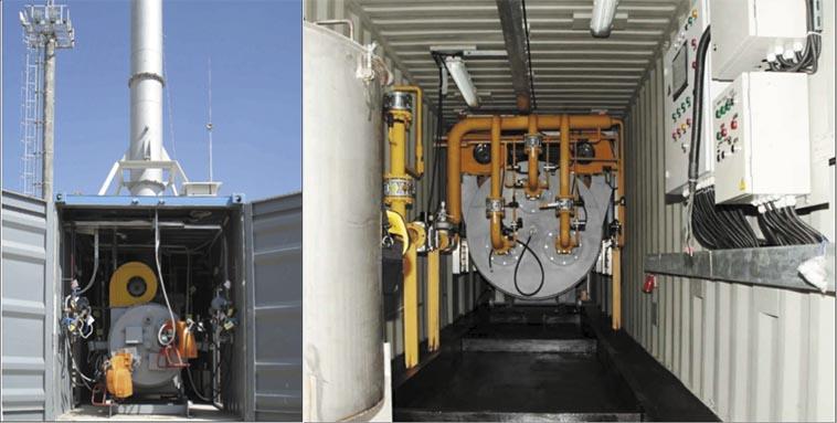 Рис. 1. Установка для уничтожения жидких отходов (шлам, сточные воды, буровые растворы) производительностью 300 м3/ч по ПНГ, 100 кг/ч по отходам (а) и циклонная топка (б) для утилизации ПНГ (1500 м3/ч)