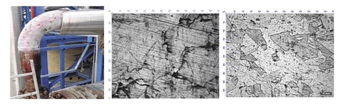 Рис. 1. Поврежденный отвод (а), микроструктура металла отвода вне зоны разрушения (б) и в зоне разрушения (в)