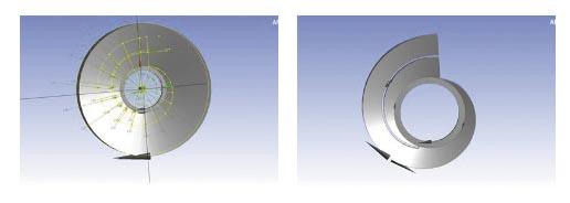 Рис. 5. Эскиз, описывающий профиль «ребра» между второй спиралью и переводным каналом двухзаходного отвода (а) и формирование «ребра» в твердотельной модели заготовки с помощью полученного эскиза (б)