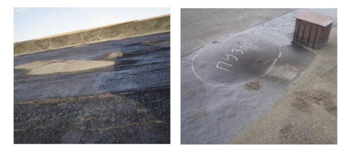 Рис. 2. Образование хаотически расположенных вздутий под верхним слоем кровельного ковра