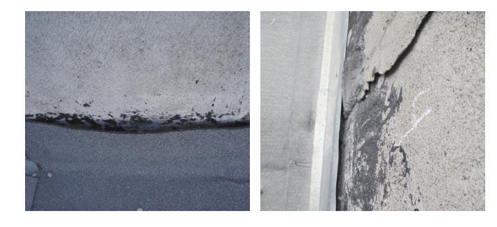 Рис. 5. Неплотное прилегание рулонного ковра кровли в местах примыкания кровли к вертикальным поверхностям (а) и некачественная установка металлического фартука (б)
