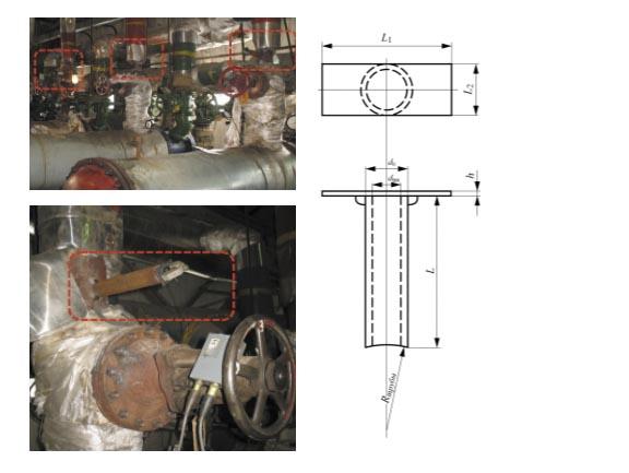 Рис. 3. Эскиз волновода (а) и места установки аппаратуры на трубопровод (б)