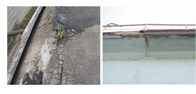 Рис. 9. Отслаивание рулонного ковра от бетонного свеса карниза