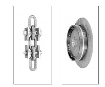 Рис. 4. Крепление ковша SD (а) и натяжное колесо (б) системы «RUD 65»
