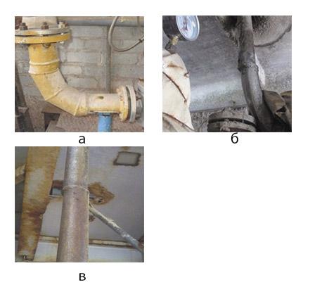 Рис. 8. Несоответствия расположения при сваривании различных элементов трубопровода: а – отклонение по геометрическим размерам и взаимному расположению свариваемых элементов; б, в – смещение и совместный увод кромок свариваемых элементов