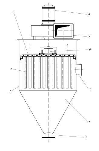 Рис. 1. Механический фильтр-пылеуловитель с фильтрующими патронами из пористой металлокерамики