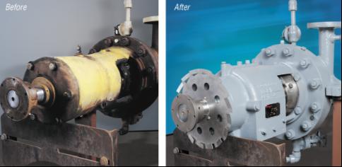 Приводная часть насоса до и после модернизации по программе RVX