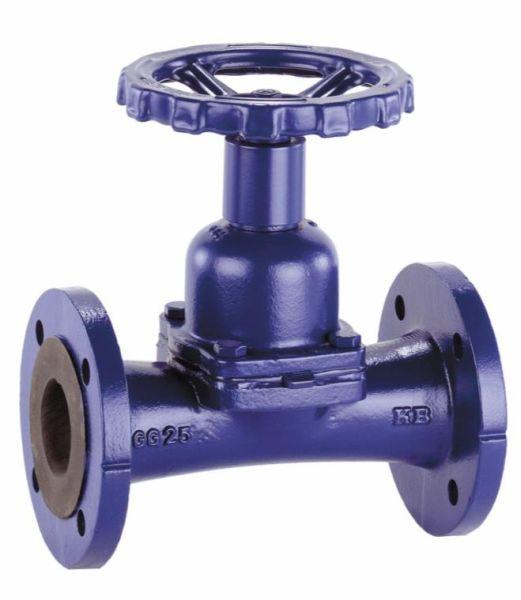 Рис. 5. Затворный клапан SISTO-KB  Мембранный запорный клапан по DIN/EN с фланцами, с уплотнением на проход и внешним уплотнением посредством запорной мембраны, обтекаемый корпус с облицовкой и без облицовки, индикатор положения со встроенной защитой штока, от DN 125 до DN 200 – с резьбовой втулкой. Все функциональные детали не имеют контакта с рабочей средой, не требует технического обслуживания.  Область применения В оборудовании для зданий, промышленных установках, на электростанциях для абразивных и агрессивных сред таких, как техническая вода, сточные воды, кислоты, щелочи, шлам и взвеси