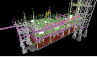 Секции  нефтеперерабатывающих установок (модель построена при использовании AutoCAD Structural Detailing, AutoCAD Plant 3D, Inventor, AutoCAD)