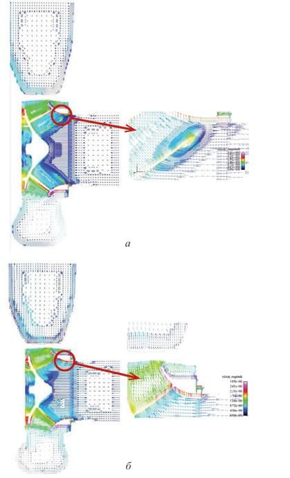 Рис. 6. Поля скоростей жидкости в проточной части насоса по результатам компьютерного моделирования до (а) и после (б) оптимизации