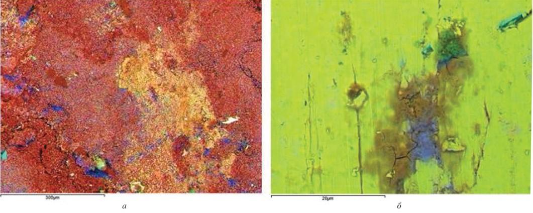 Рис. 6. Карты распределения химических элементов на внутренней поверхности трубы (а) и в сечении трубы со стороны внутренней поверхности с микротрещиной (б): синий цвет – сера, голубой – кремний, зеленый – натрий, желто-зеленый – железо, оранжевый – кислород, красный – углерод