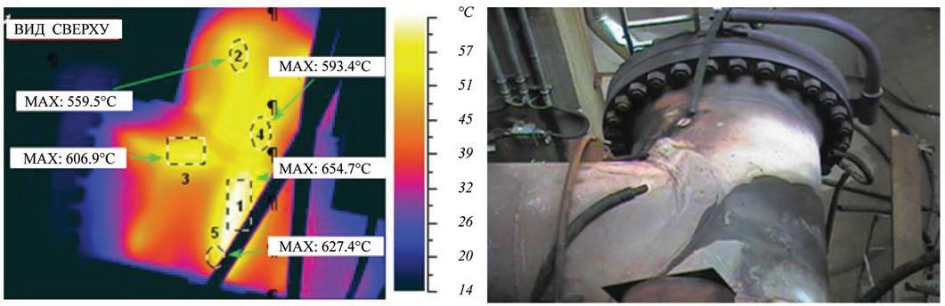 Рис. 7. Тепловизионная съемка перегретого участка коллектора