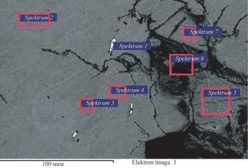 Рис. 4. Образец с трещиной. 522. Изображение шлакового включения с детектором обратно-рассеянных электронов. Указаны точки замеров химического состава