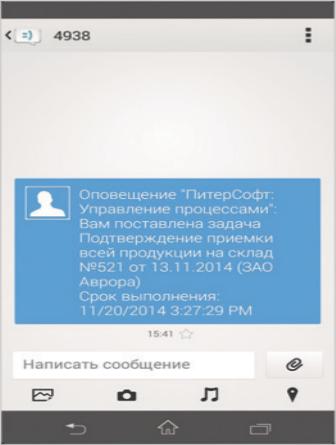 Рис. 4. Пример SMS-оповещения сотрудника