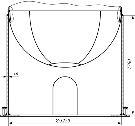 Рис. 1 Фрагмент установки колонны на цилиндрическую юбочную опору