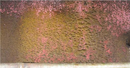 Рис. 3. Язвенная коррозия в обечайке опоры глубиной до 10 мм
