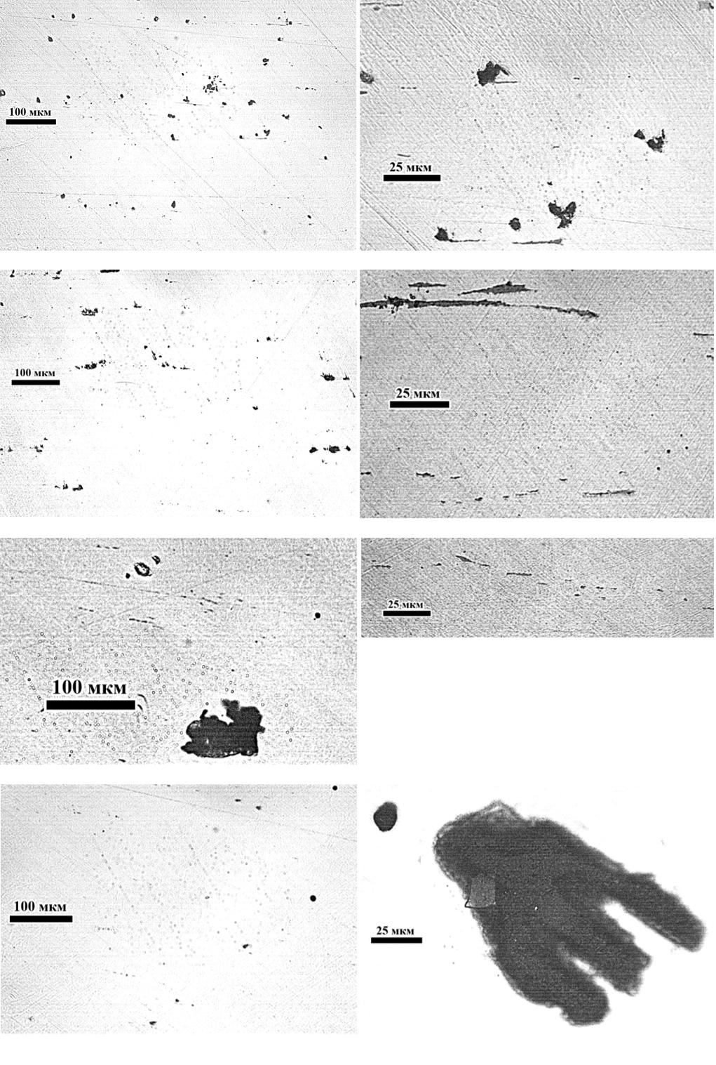 Рис. 2. Неметаллические включения в металле предоставленных проб №1…4