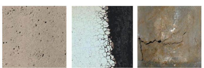 Рис. 2. Виды коррозионных повреждений: а – питтинговая коррозия; б – межкристаллитная коррозия; в – коррозионное растрескивание металла